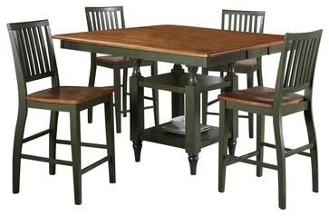 Steve Silver Candice 5 Piece 54x42 Counter Height Set In Oak And Green   Dining  Tables   E Furniture Mart