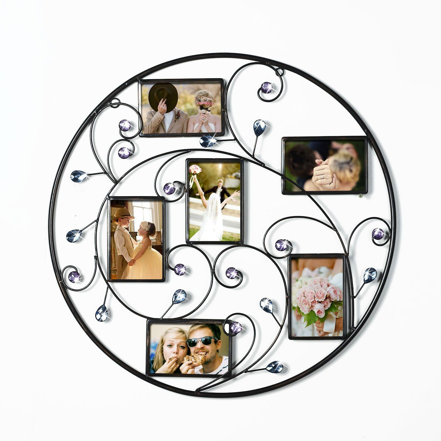 Adeco Brown Black Decorative 6 Opening Collage Bronze Iron Metal Wall Haning Scroll Picture Photo Frame Pf0597 Picture Frame Decor Metal Wall Hangings Gallery Wall Frames
