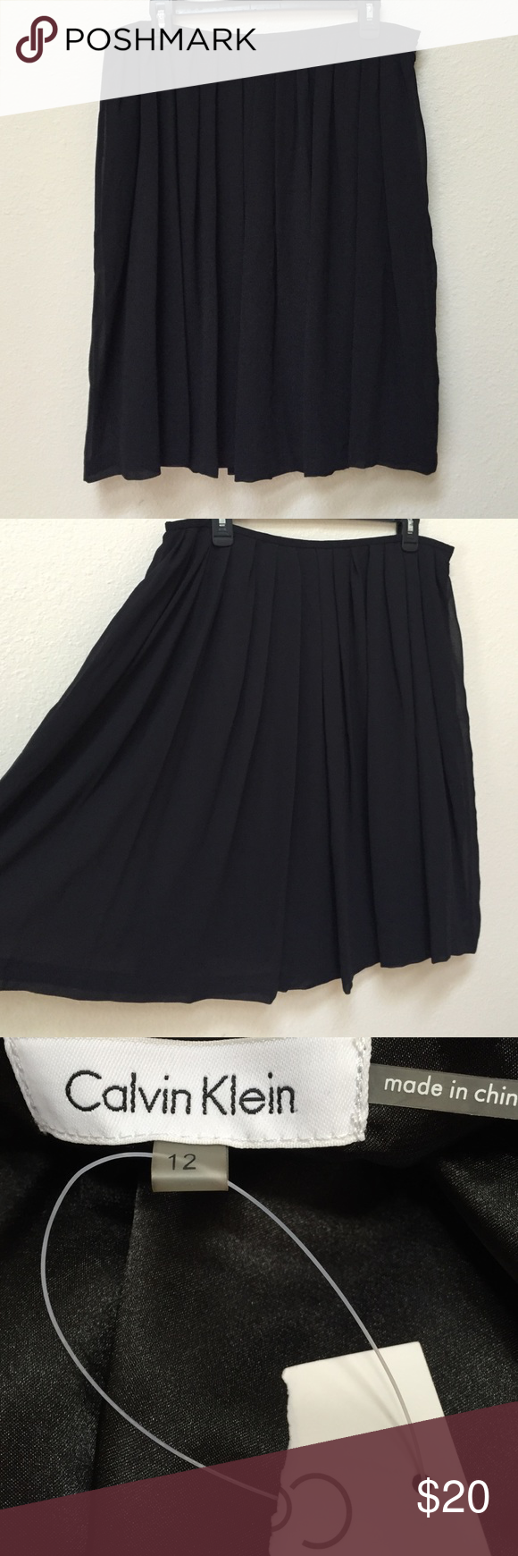 """Black NWT Calvin Klein pleated skirt This is a classic, black Calvin Klein pleated skirt. NWT. Size 12. The shell is made from 100% polyester and lining is 100% polyester. There is a zipper on one side. Length is approximately 23"""". Calvin Klein Skirts"""