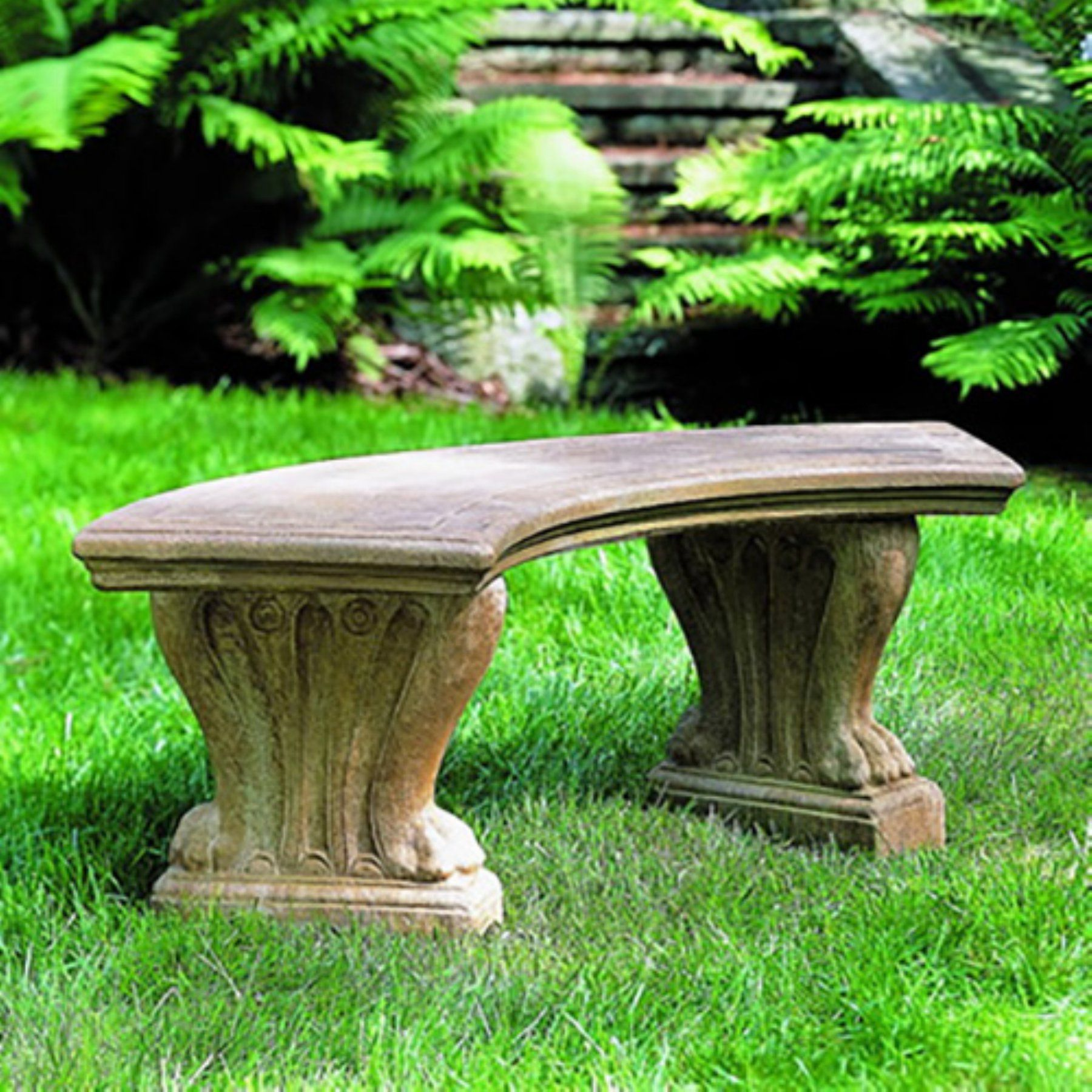 Panchine Di Pietra Da Giardino.Outdoor Campania International Curved West Chester Bench Be 20