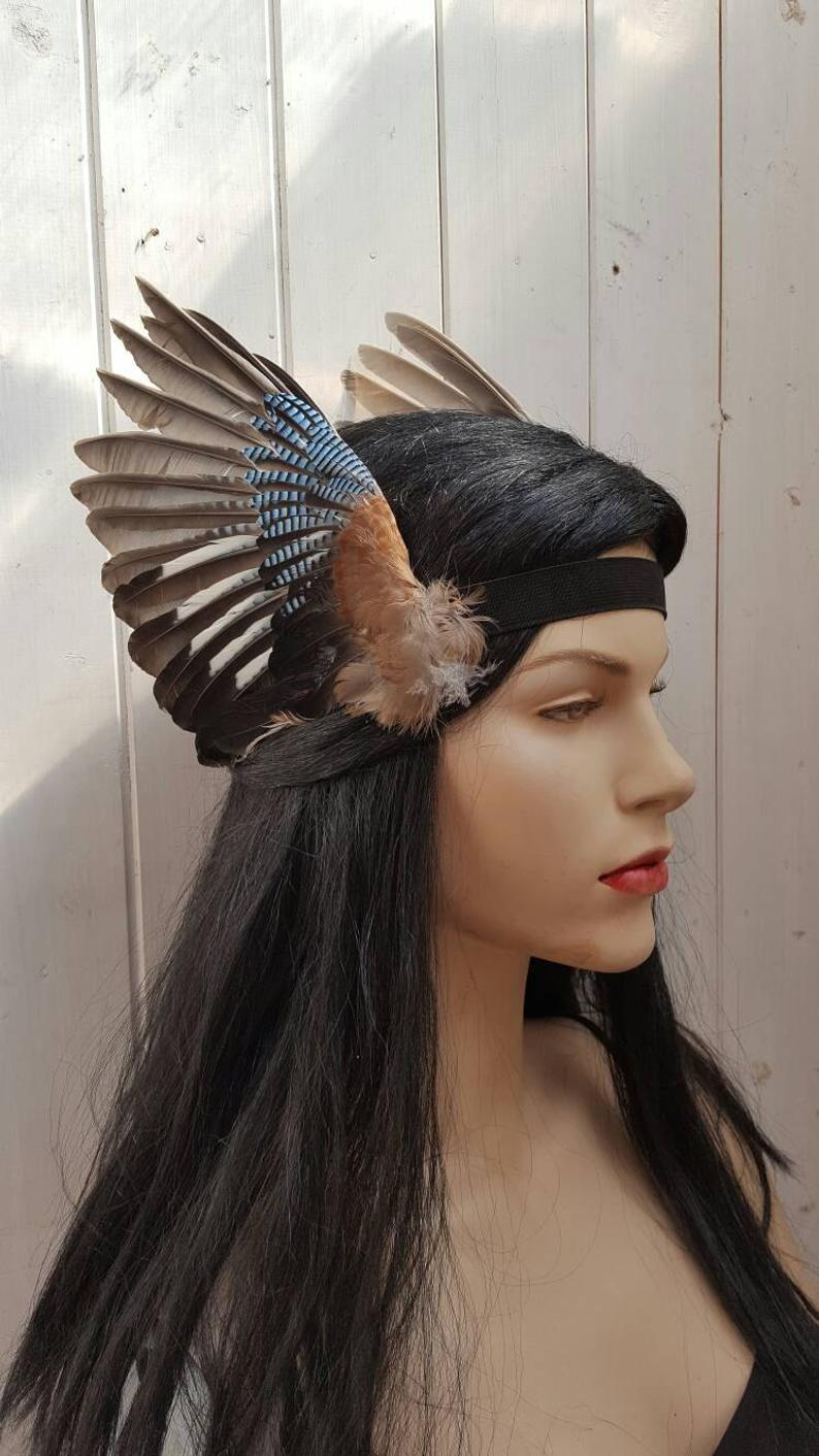 Valkyrie style Beautiful real taxidermy jay bird wings headband valkyrie steampunk festival party headpiece MADE TO ORDER