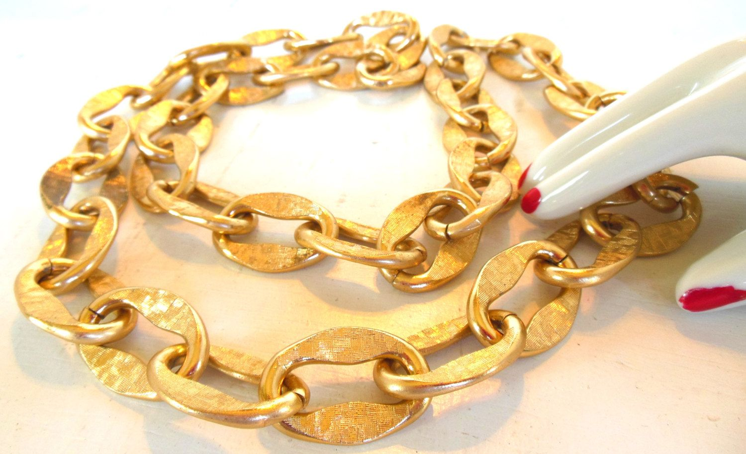 """Vintage Aluminum Gold Anodized Chunky Links Chain 26"""" 60's"""