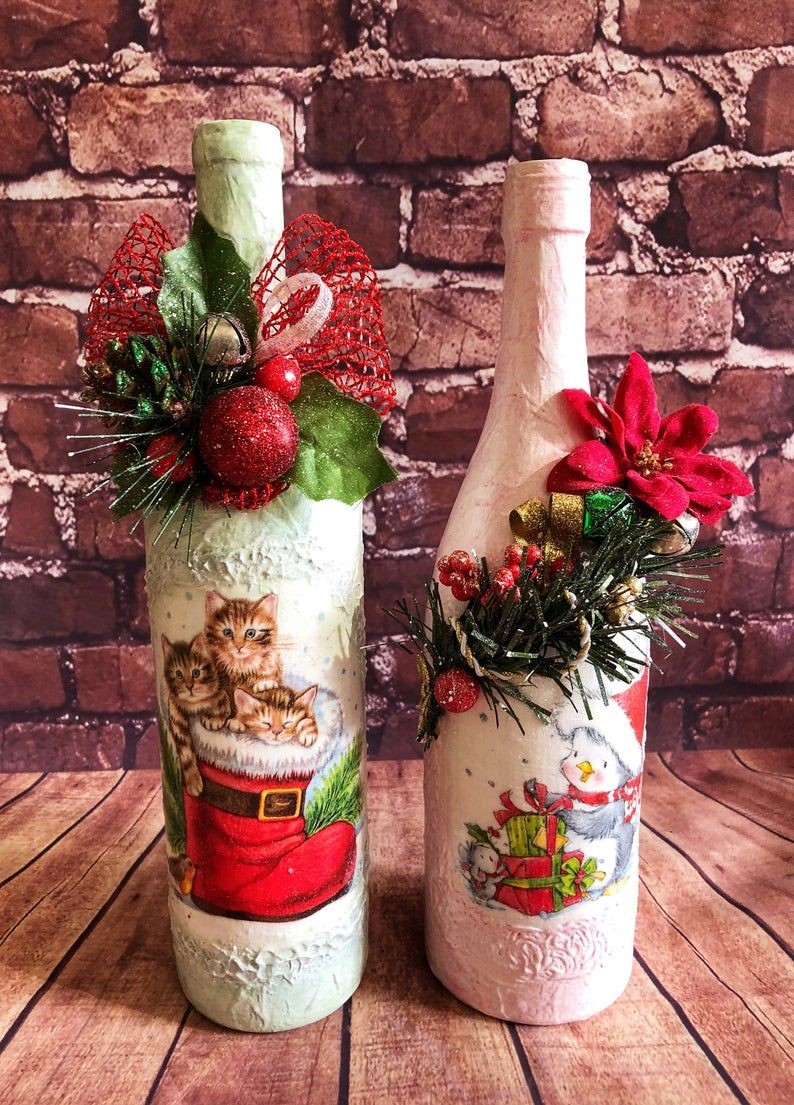 Decorated Wine Glass Bottles Set Decoupage Craft Glass Bottles Art Lavender Bottles Home Decor Table Display Yarn Bottles Centerpieces Gift In 2020 Wine Bottle Crafts Christmas Wine Bottle Christmas Decorations Christmas Crafts Decorations