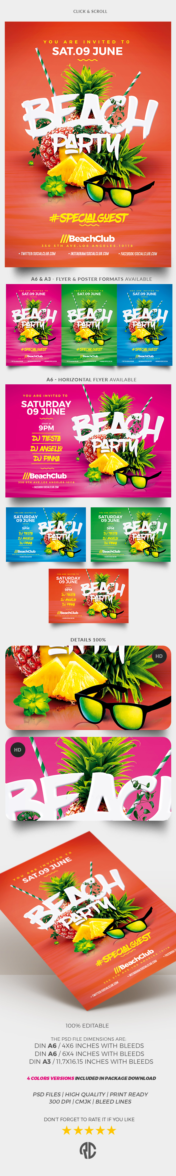 Summer Party Flyer Psd Pinterest