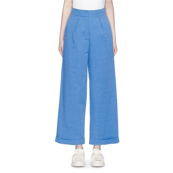 Ports 1961 Cotton-linen-cupro wide leg pants (€760) ❤ liked on Polyvore featuring pants, blue, cuff pants, cuffed pants, blue wide leg pants, wide-leg trousers and blue pants