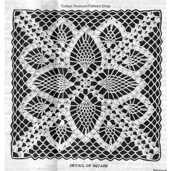 Pineapple Square Crochet Pattern Design 7174 Bedspread Tablecloth