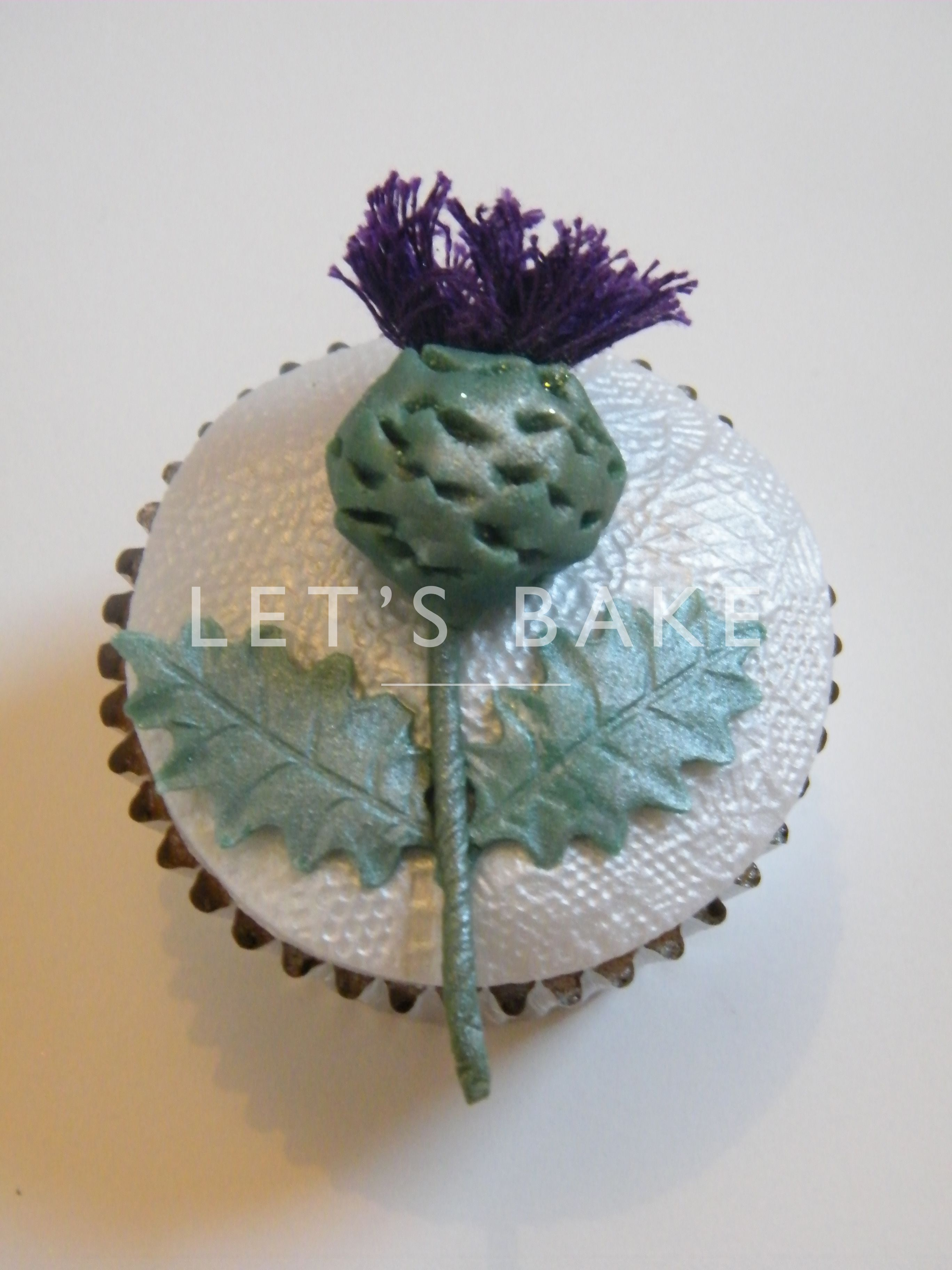 Hand crafted thistle for the Scottish wedding cupcake tower Cakes