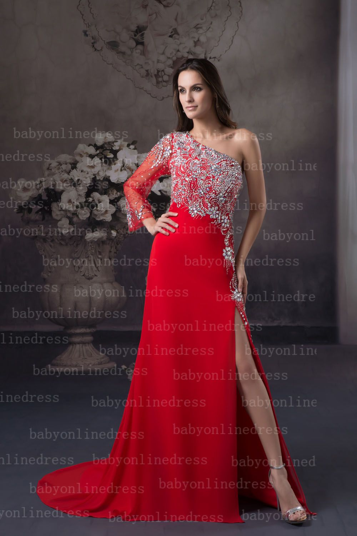 Sexy red long shoulder long sleeve beads high slit chiffon floor