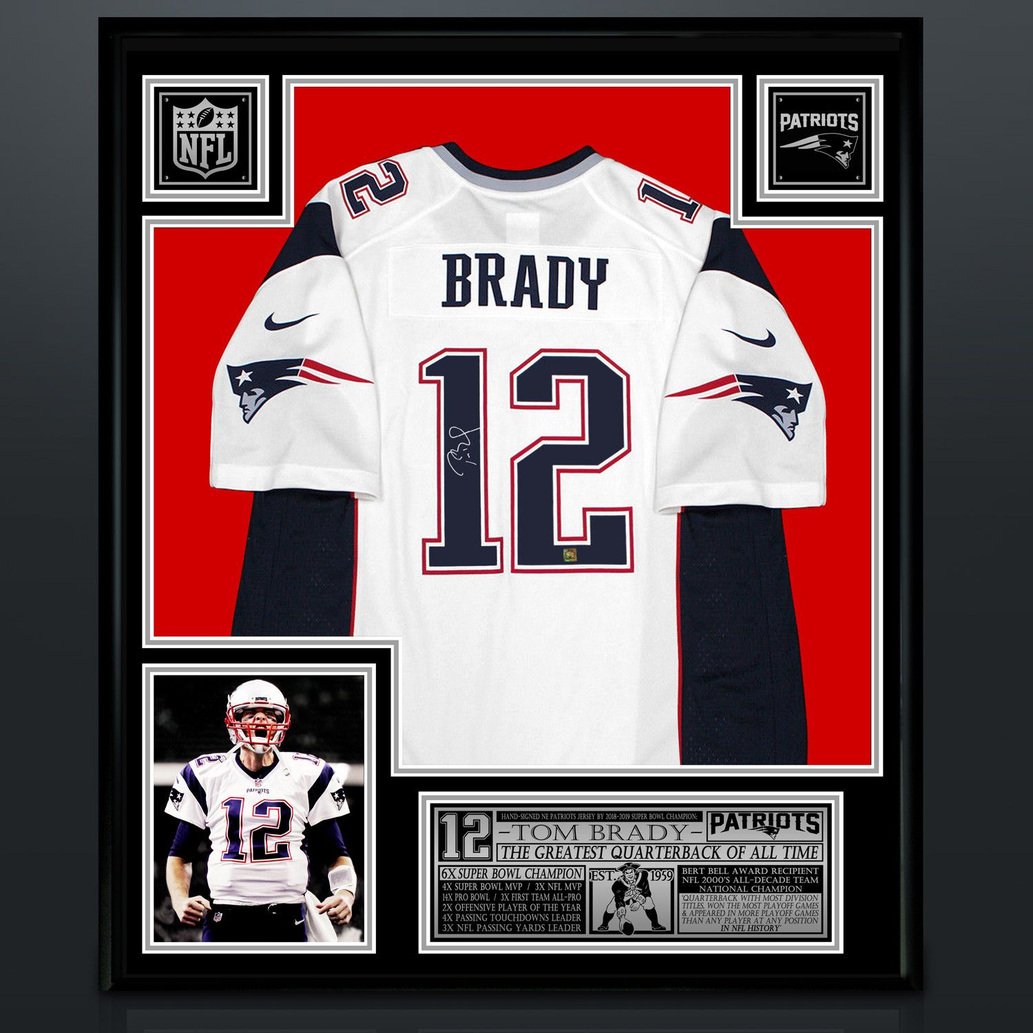 Tom Brady Signed New England Patriots White Jersey Custom Frame New England Patriots White Jersey Tom Brady