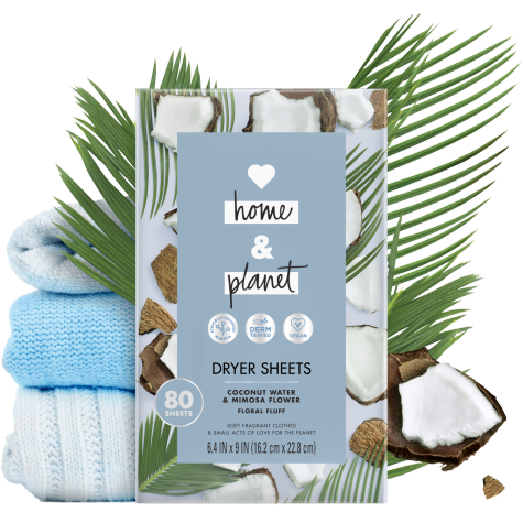 Coconut Water Mimosa Flower Dryer Sheets Love Home And Planet