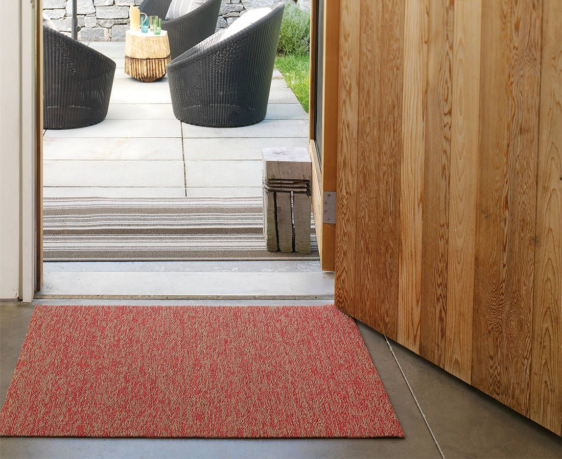 Heathered Shag Mat in Guava Outdoor rugs patio