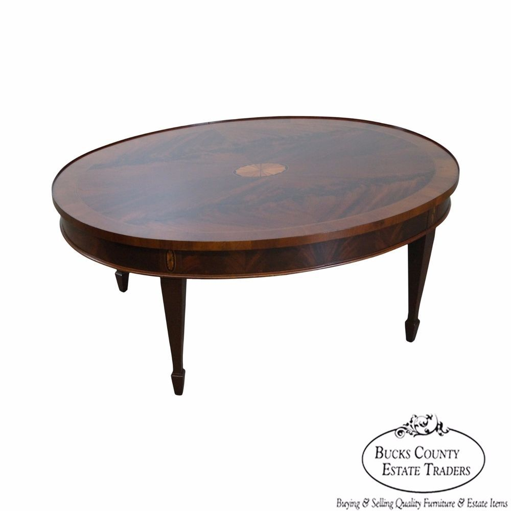 Hekman Copley Place Mahogany Oval Inlaid Coffee Table