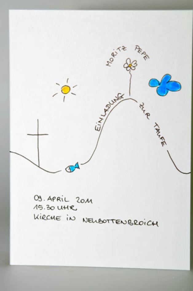 Baby & Geburtskarten tolle handgemalte Einladung Taufe