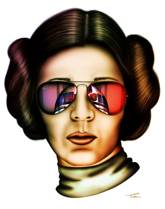 """Leia sporting her R2-D2 style shades. """"STAR WARS Princess Leia"""" by Tom Brodie-Browne on society6.com."""