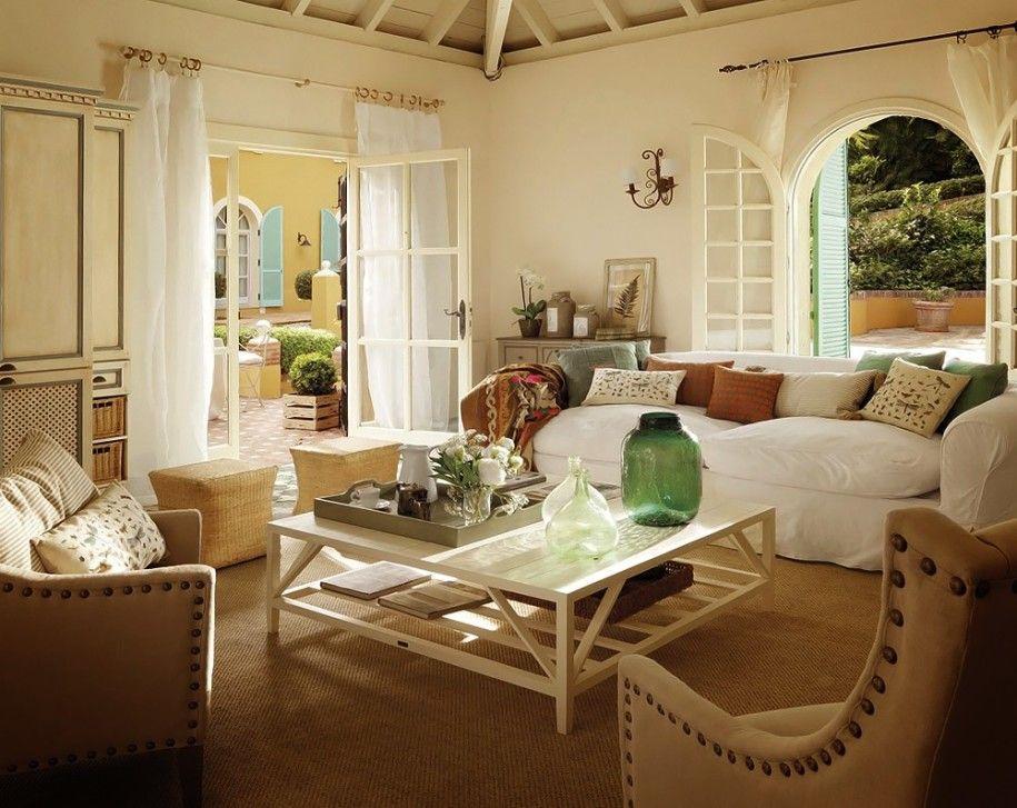 Beautiful Living Room White Sofa Oak Coffee Table Country House