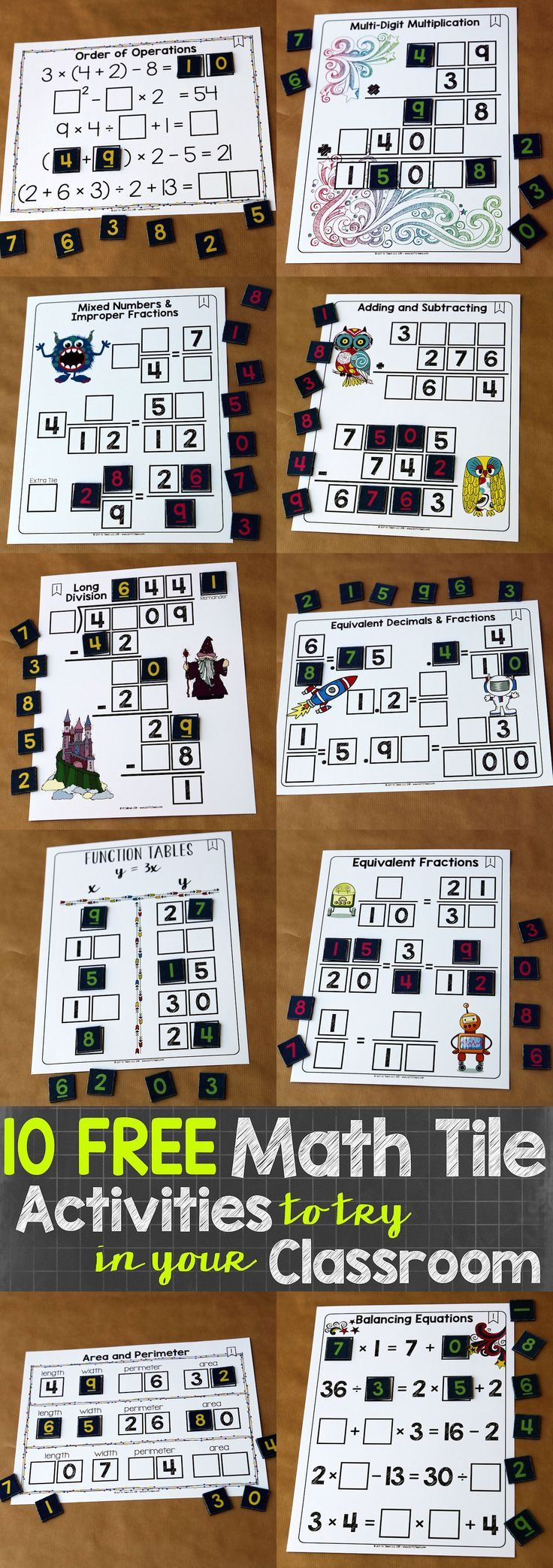Use math tile activities as an alternative to worksheets. FREE ...