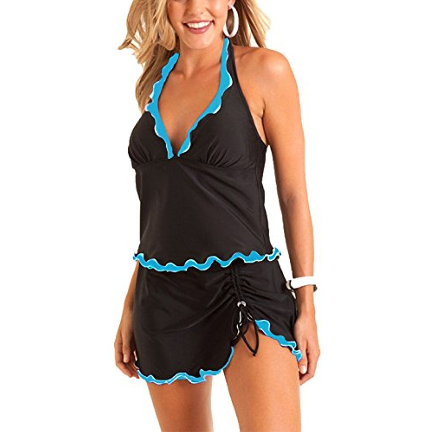 50c659a657b Summer Mae Women s Plus Size Ruffled Swimsuit Printed-Hem Ruffled Swim Skirt      Visit the image link more details. (This is an affiliate link)  Swimwear