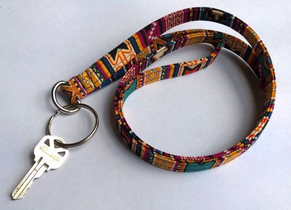 Tribal Print Lanyard Aztec Indian Inspired Boho Keychain Bohemian Key Lanyard Id Badge Holder Fabric Lanyard Breakaway Clasp Boho Keychain Hippie Accessories Boho Car Accessories