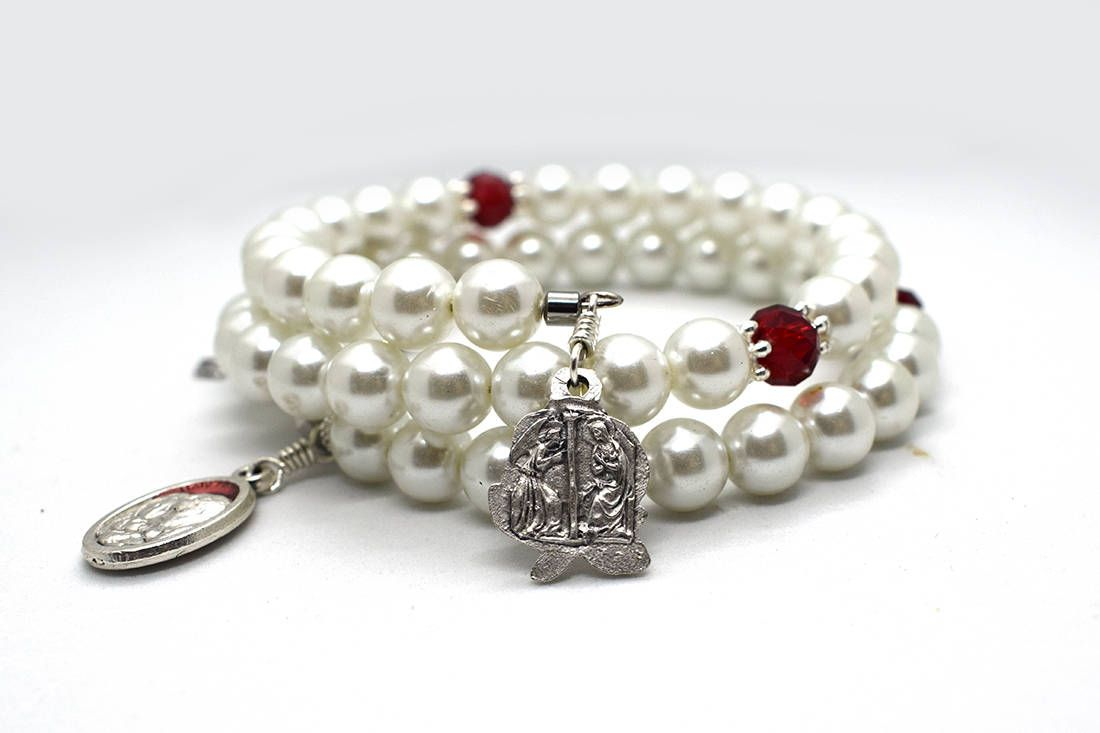 Annunciation blessed virgin mary rosary bracelet memory wire