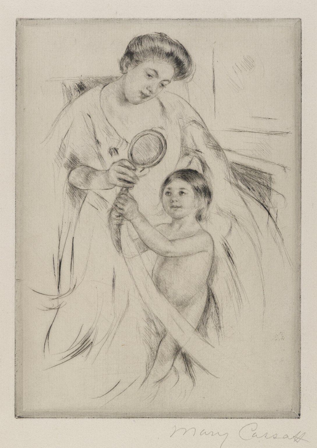 Mary Cassatt (1844-1926) - La Glace a Main - disegno - 1905 - Brooklyn Museum, New York