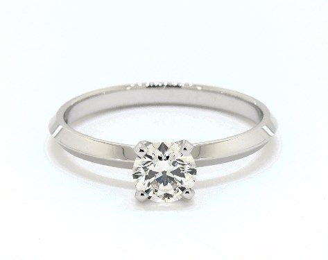 f61e081c97319 5ct Round, Knife-Edge Classic 4-Prong Engagement Ring in 2mm 14K ...
