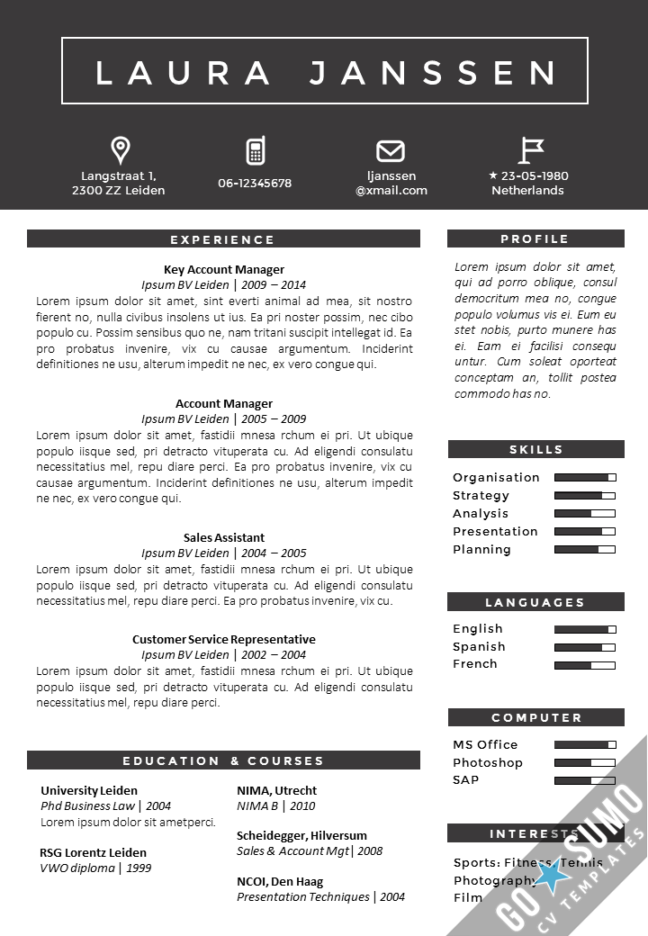 Resume Template In Word And Powerpoint Matching Cover Letter