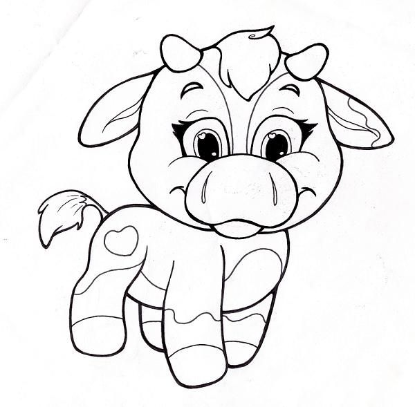 Image Detail For Coloring Page With Cute Cow Line Art