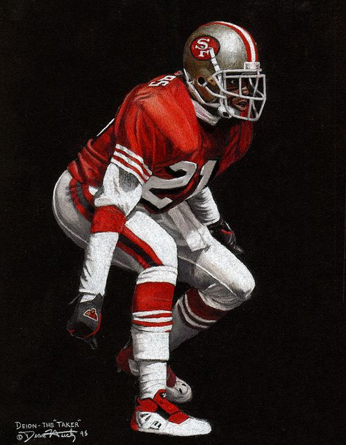 Deion Sanders Original Colored Pencil Drawing By Dean Huck Nfl Football 49ers Nfl Football Art Nfl 49ers