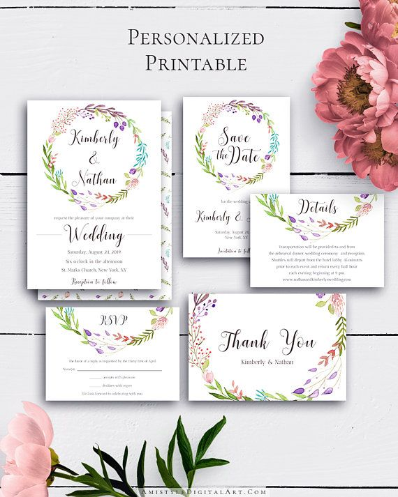 boho wedding set wedding invite floral wedding set printable