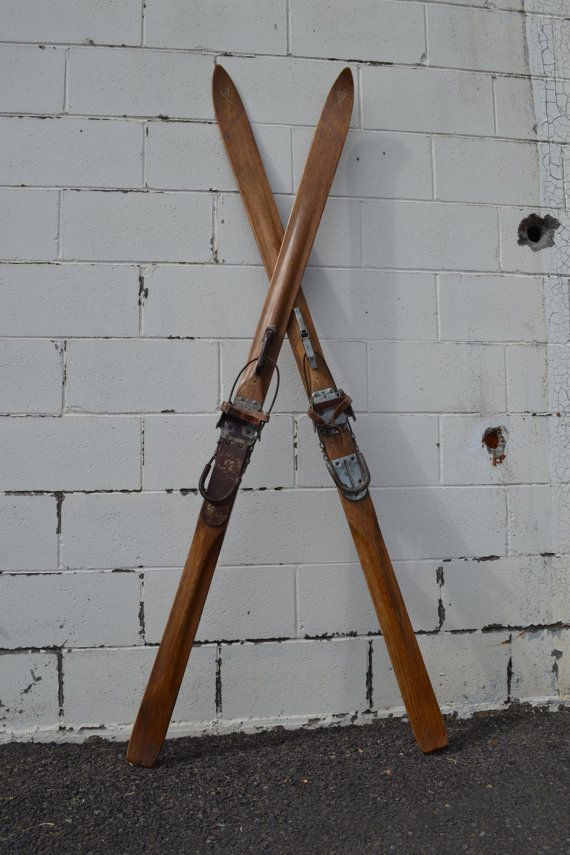 Vintage Wooden Snow Ski Antique Mercury Wooden Skis Cross Country