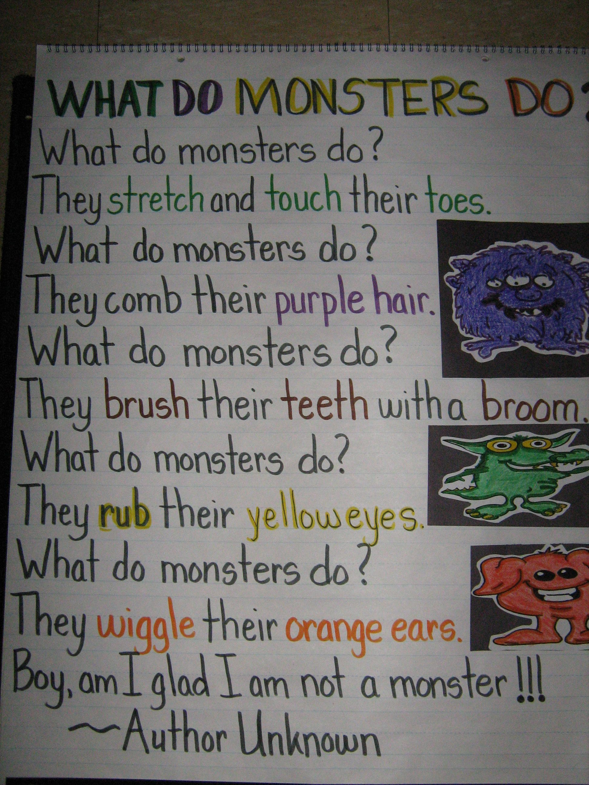 What Do Monsters Do Active Poem Colors Monsters