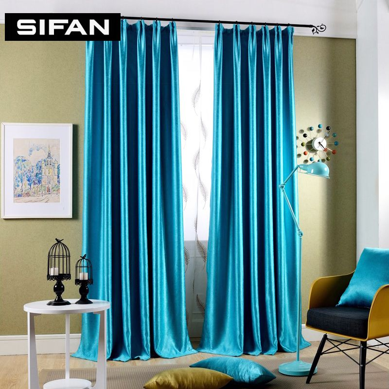 sparkle blue / yellow pearl cashmere blakcout curtains for living