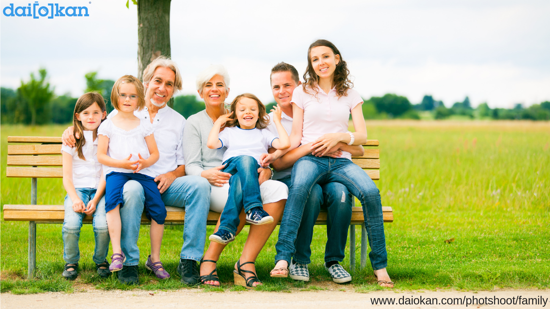 Big Happy Family Photo On Bench