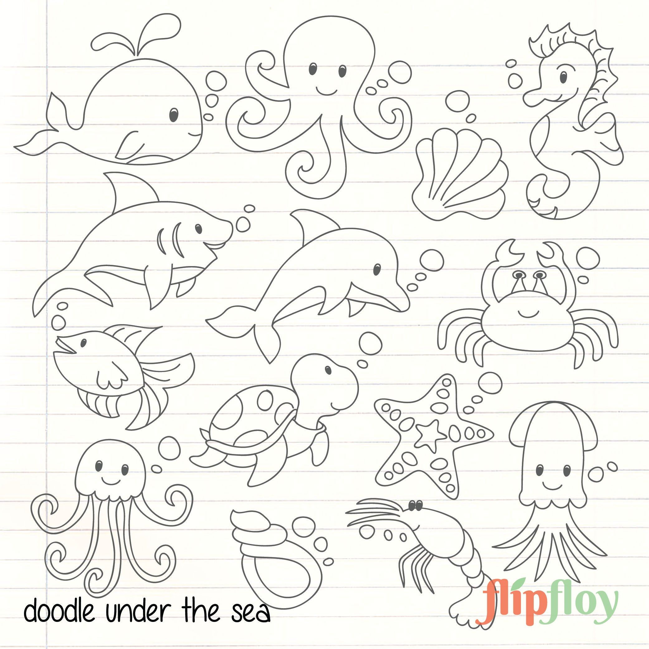 Doodle Cute Under The Sea Animal Instant Download 14 Etsy Sea Animals Drawings Animal Doodles Sea Creatures Drawing