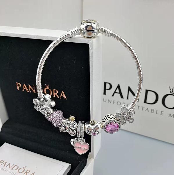 Authentic Pandora Bangle Bracelet With Blue Theme 8 Pcs