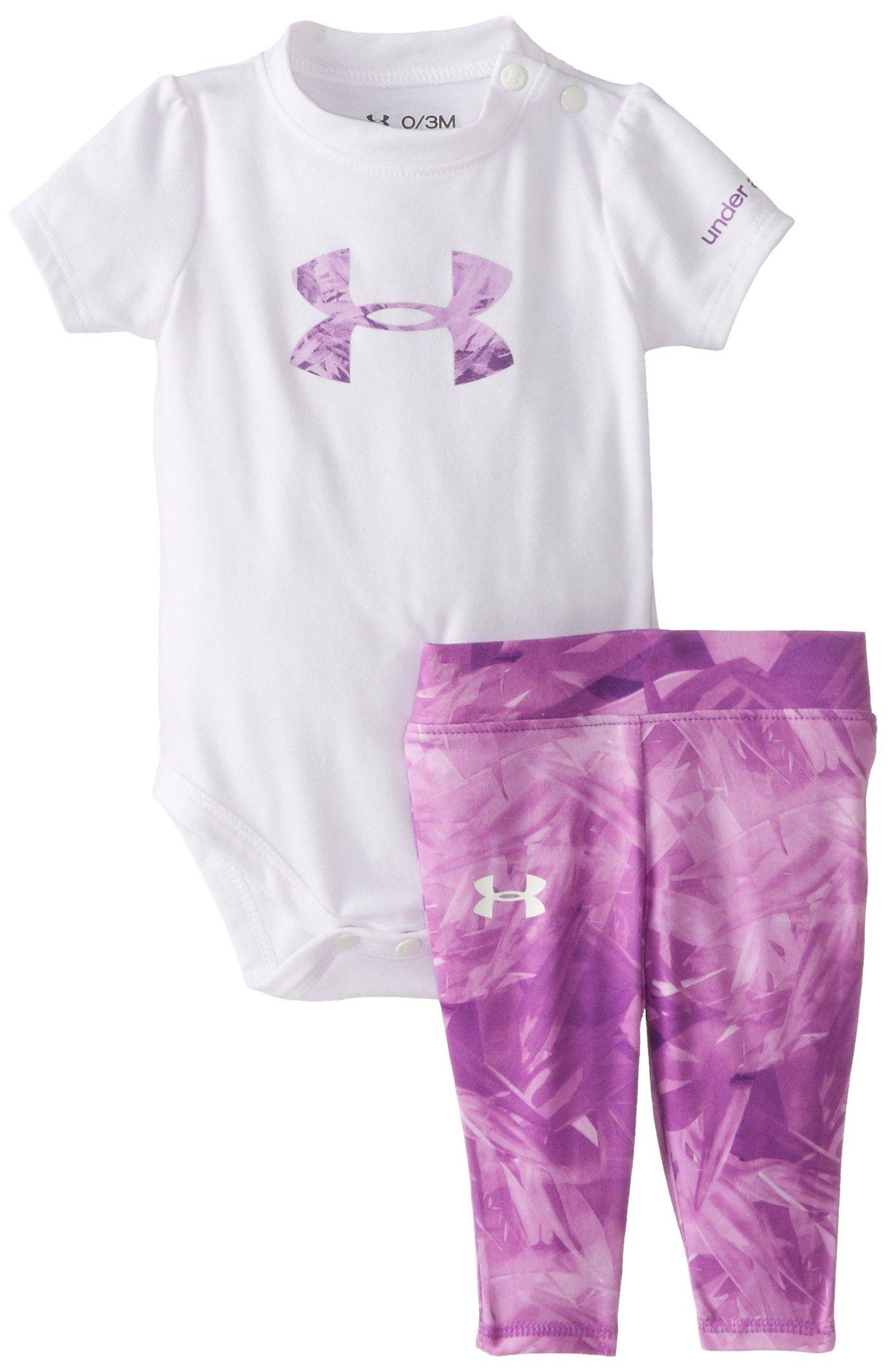 adeea4fc Under Armour Baby-Girls Newborn Jungle Jive Logo Set, White, 3-6 ...