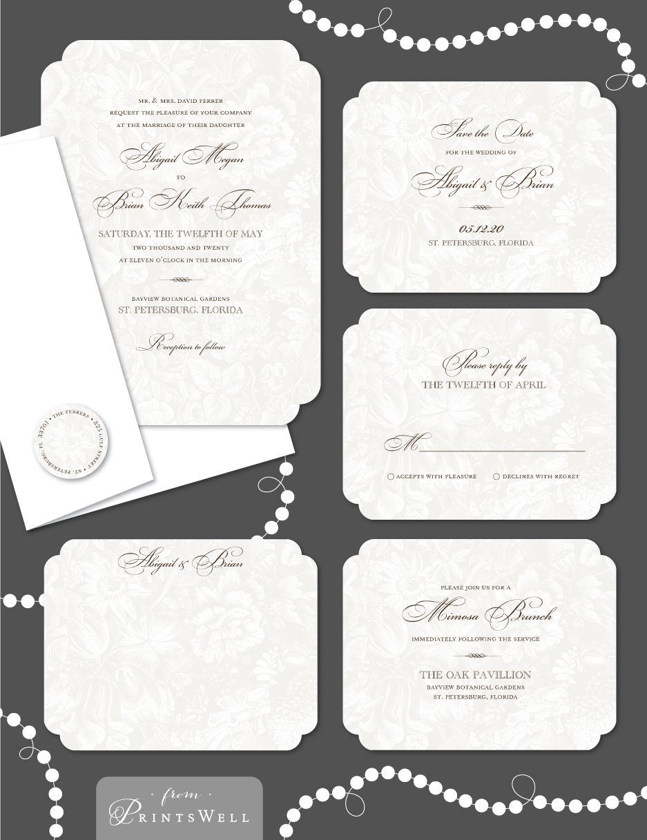 Stacy Claire Boyd In The Garden Creme Lace Wedding Invitation Suite