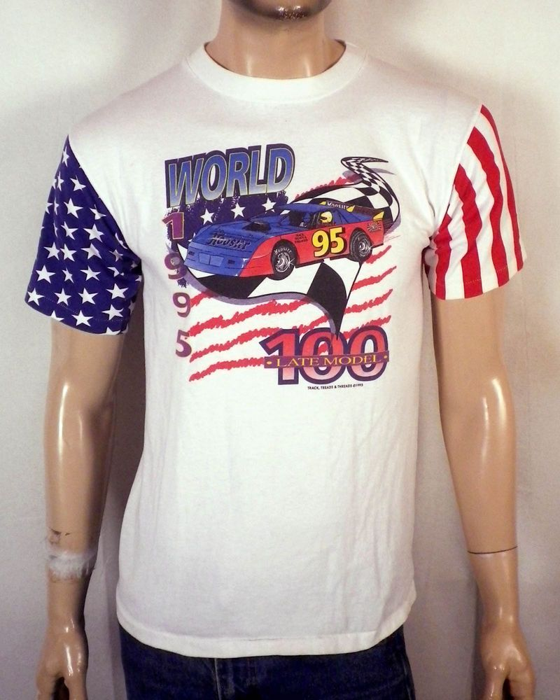 87c03dff7 vtg 90s Late Model Eldora Speedway World 100 T-Shirt USA flag sleeves M