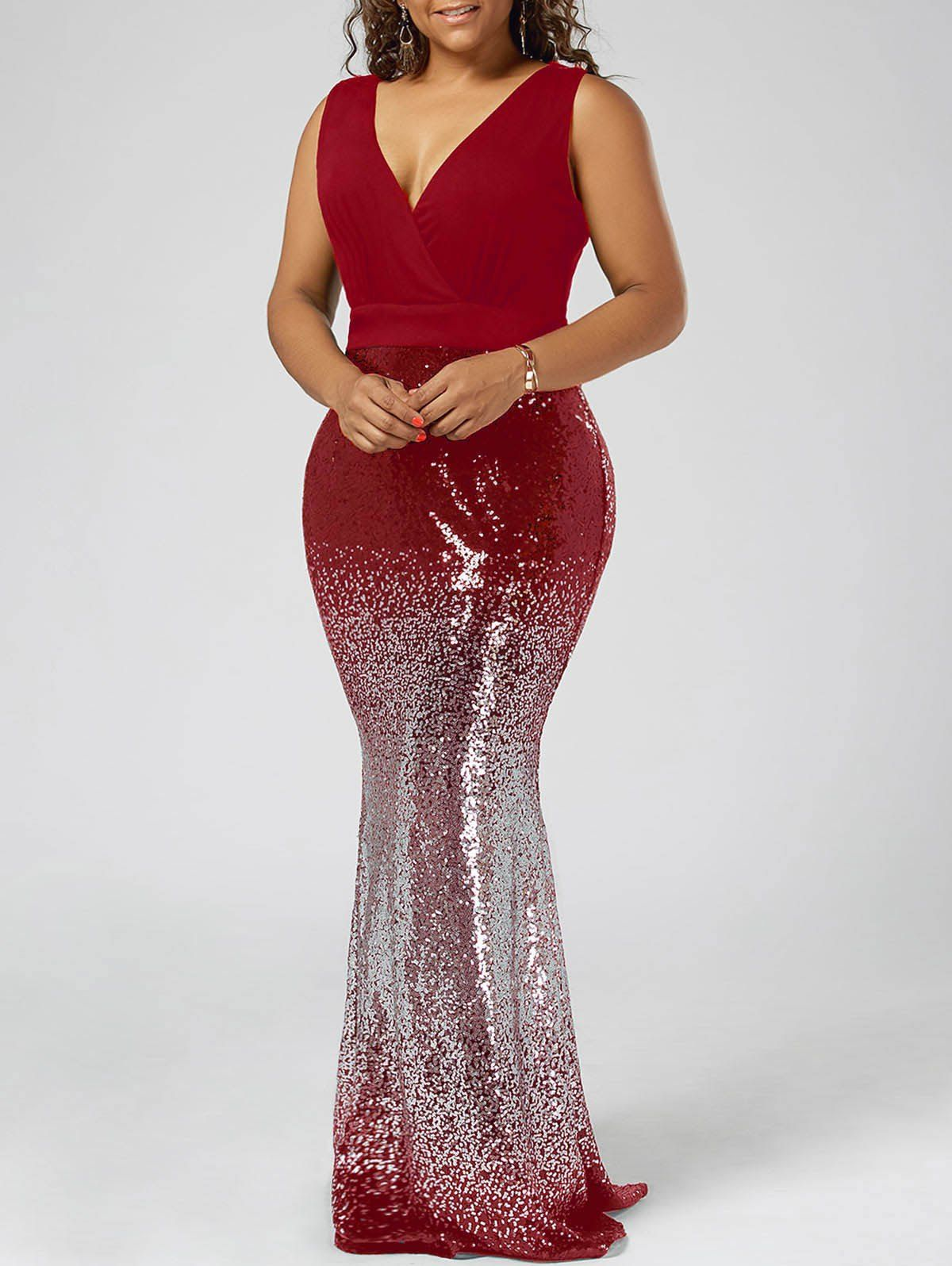 Plus size sequins party fishtail maxi dress in formal wear