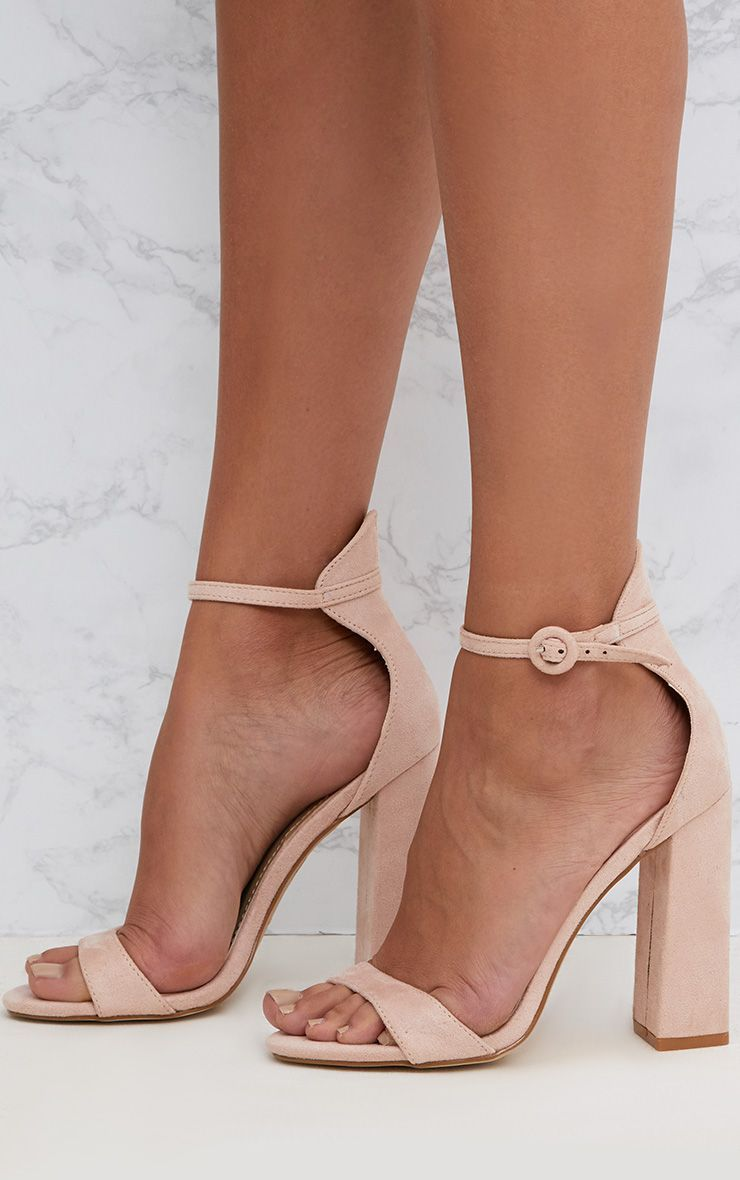 d139e6f4a3 Nude Faux Suede Block High Heeled Sandals in 2019   ERICAS Wedding