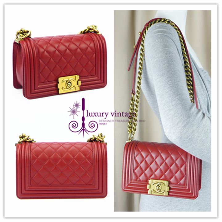 12f90b8c5f9b CHANEL Boy Small Red Colour Lambskin With Matt Gold Hardware Brandnew  Condition Ref.code-(KYKC-1)