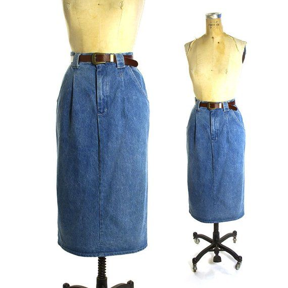 e52f86fc6b9a Maxi Denim Skirt Vintage 80s High Waisted Jeans Pencil Skirt with Faux  Leather Belt Women's Size Med