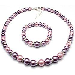 Bleek2Sheek Pastel Purple and Mauve Glass Pearl Necklace, Bracelet and Earring Jewelry Set