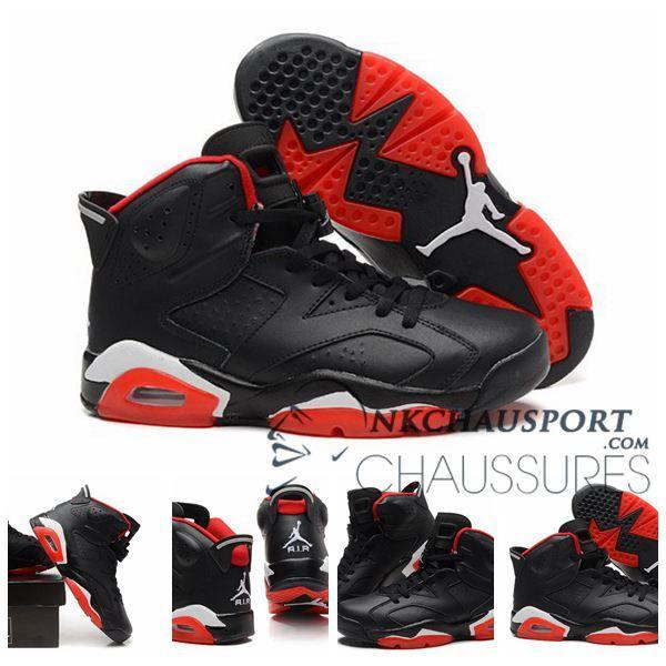Nike Air Jordan 6 Classique Chaussure De Basket Homme Noir Rouge 4