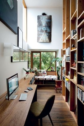 In the study, a wall is used for open storage.