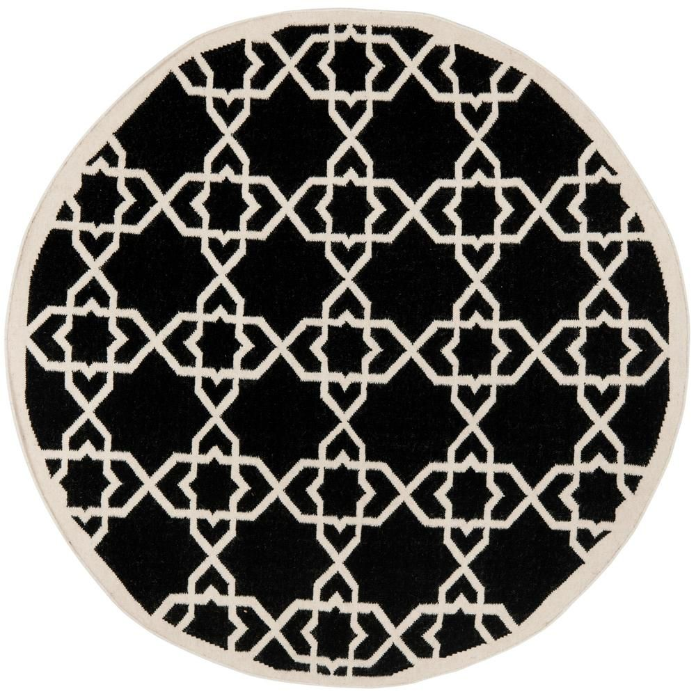 Safavieh Dhurries Black Ivory 8 Ft X 8 Ft Round Area Rug Dhu548l