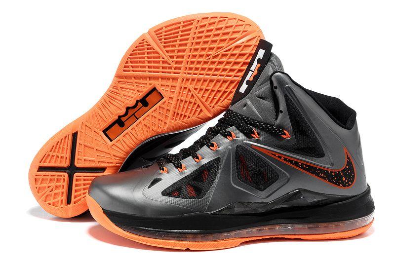 Nike Lebron 10 Basketball Shoes Graphite Black/Orange