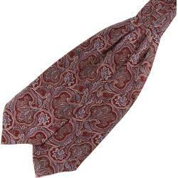 Barock Seiden Krawattenschal In Rot & Lavendel