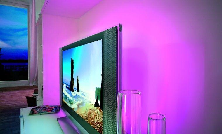 iluminacion indirecta led salon pared rosa - Iluminacion Led Salon