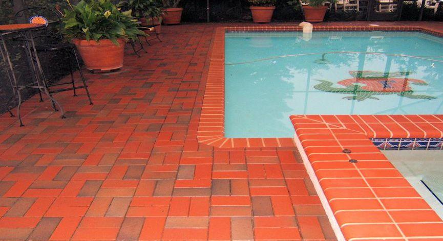 "full range beveled pavers around this ""gator"" pool madepine"
